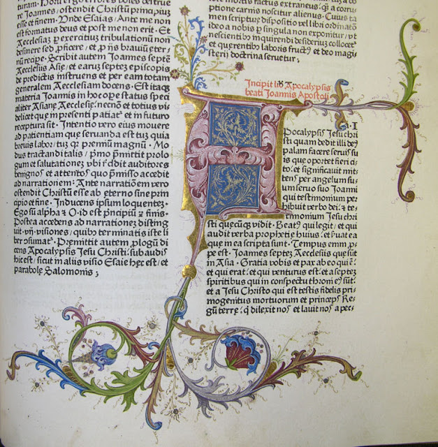 Decorated initial marking the start of the Book of Revelation