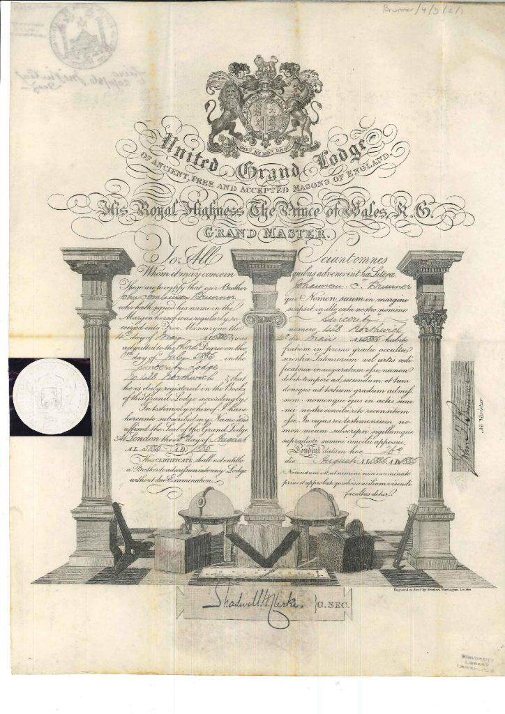 United Grand Lodge certificate