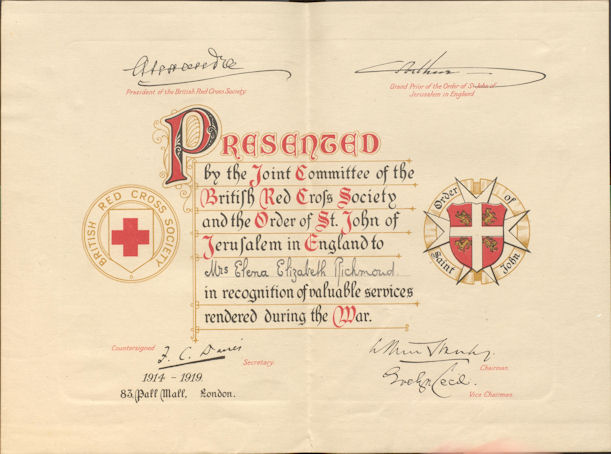 Image of RPXXV.5.17 (6): Elena Richmond's certificate from the Red Cross Society