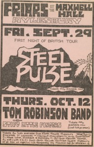 Gig flyer featuring Steel Pulse and Tom Robinson Band