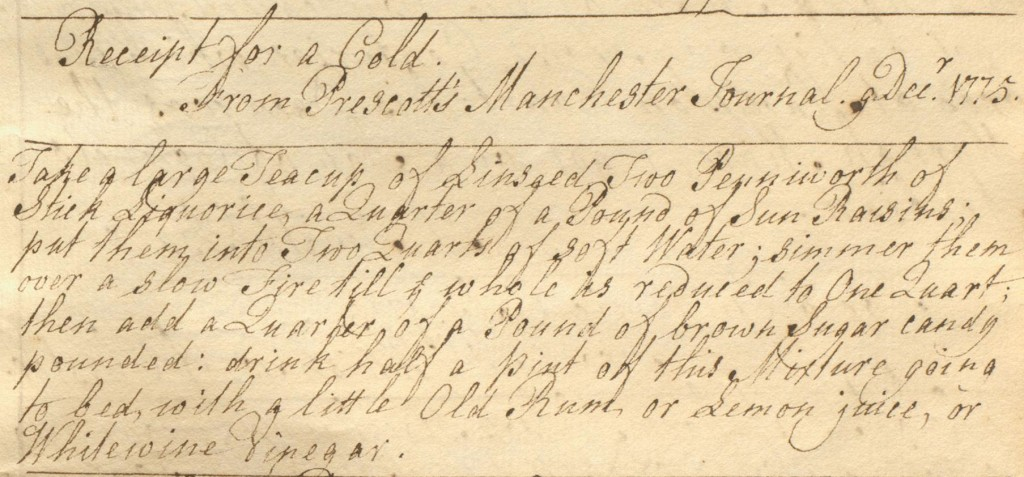 18th century recipe for  curing a cold, from commonplace book LUL MS.148.