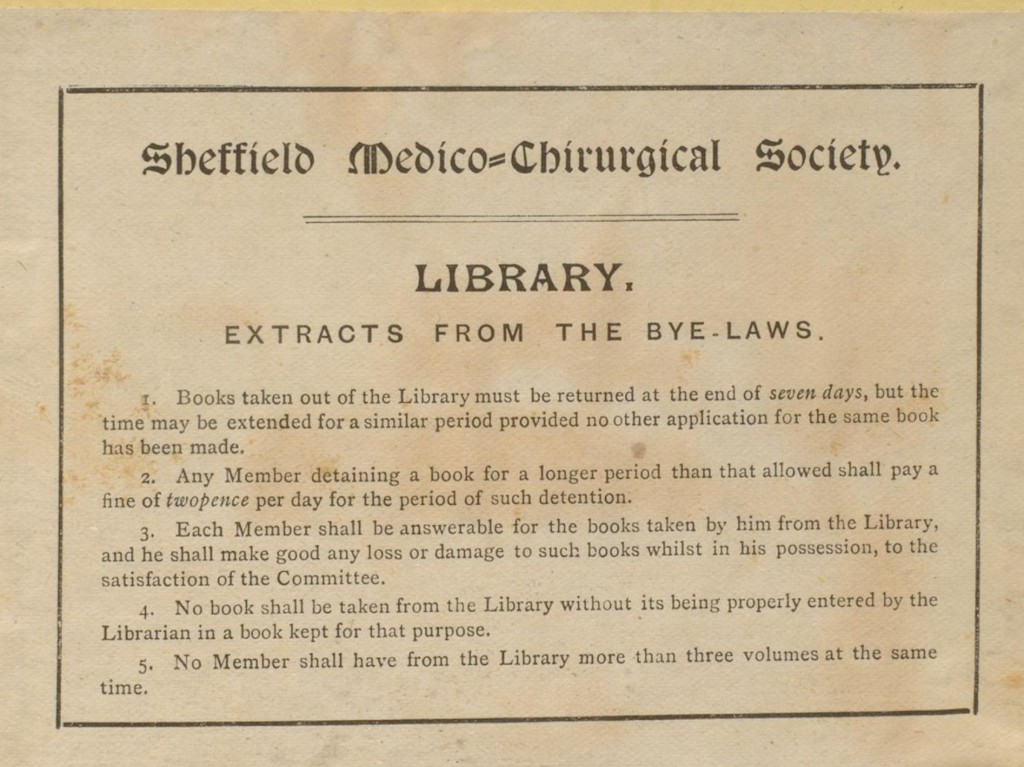 Y88.3.326 Sheffield Medico-Chirurgical Society Library Bookplate