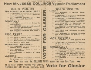 Leaflet attacking the voting record of John Bruce Glasier's Conservative opponent, Bordesley, 1906 [GP/5/2/2(10)]