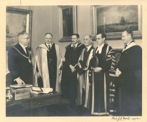 Sir Charles Sydney Jones, as Lord Mayor, meets a deputation from the University in 1938 [University Archive P1003/8]