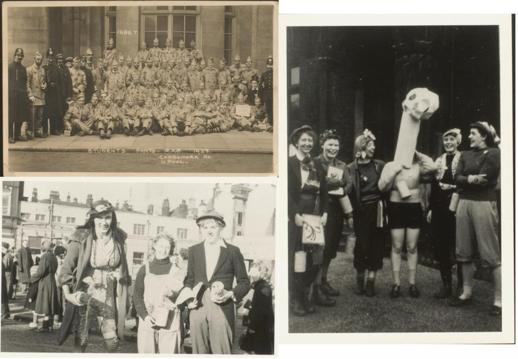 Students collecting money for Panto Day and the Liverpool Hospitals. Top left: 1923 D411/2/1, Bottom left: 1950 D784/1/5, Right: 1949 D784/1/2.
