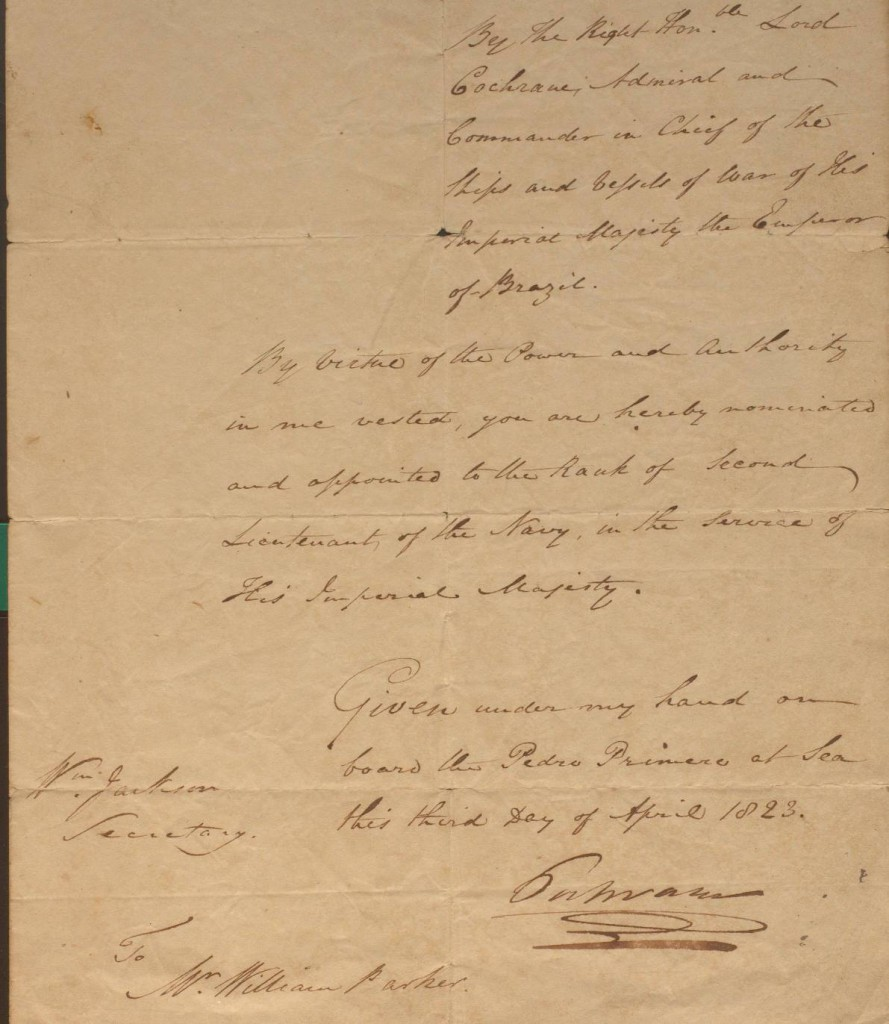 Cochrane appoints Parker to the rank of Second Lieutenant in the Imperial Brazilian Navy, 3 April 1823