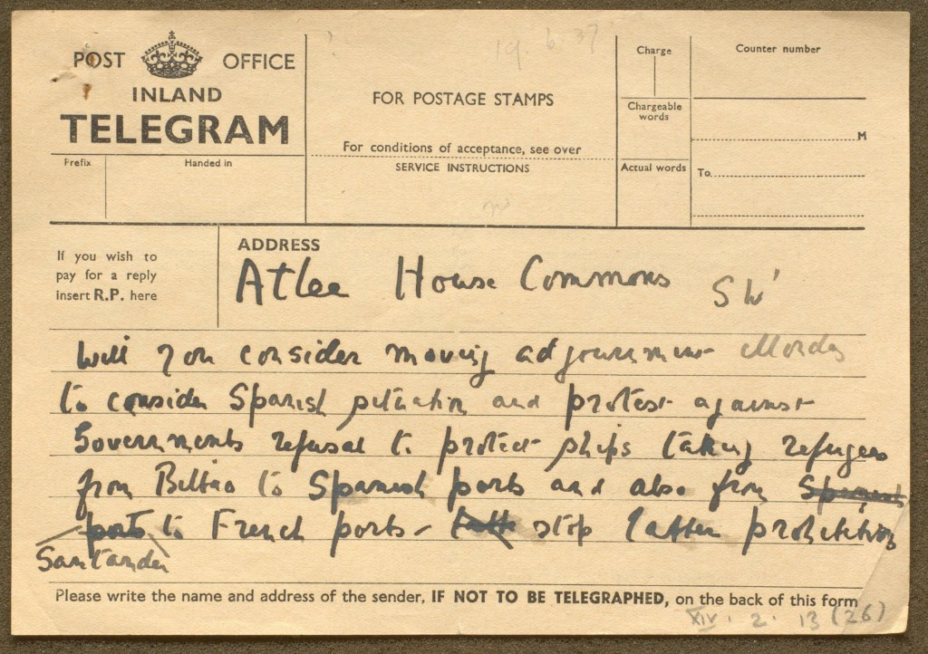 Telegram from Eleanor Rathbone to Clement Atlee, dated 19th June 1937 [RP XIV.2.13(26)].