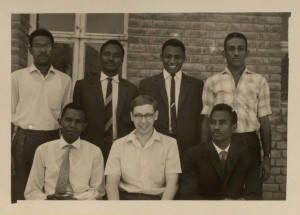 HAI/6/20: Hair (centre) and six history honours students at the University of Khartoum, April 1965