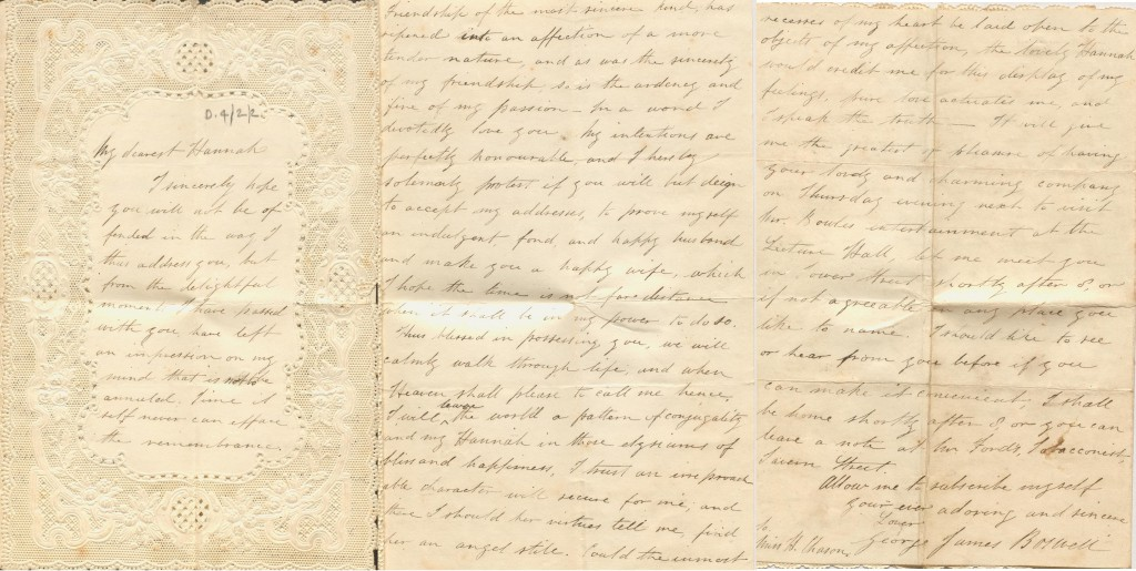 D4/2/2 Love letter from George James Boswell to Hannah Chason
