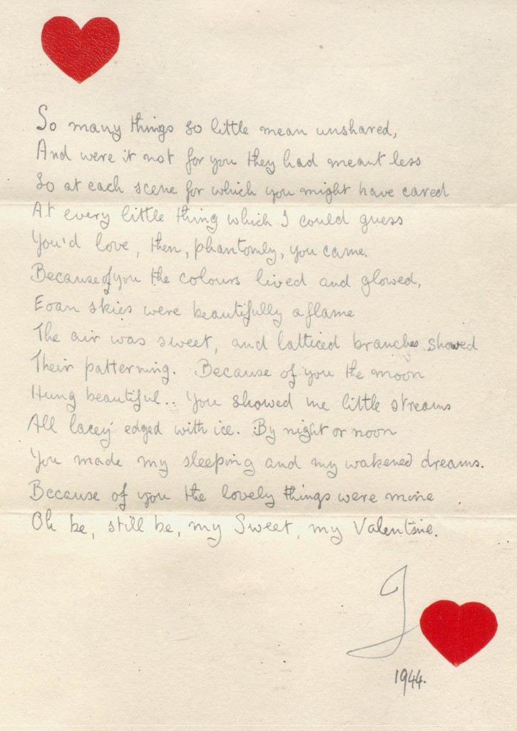 Wyndham 8/4/1: 1944 Valentine from Wyndham to Grace Wilson