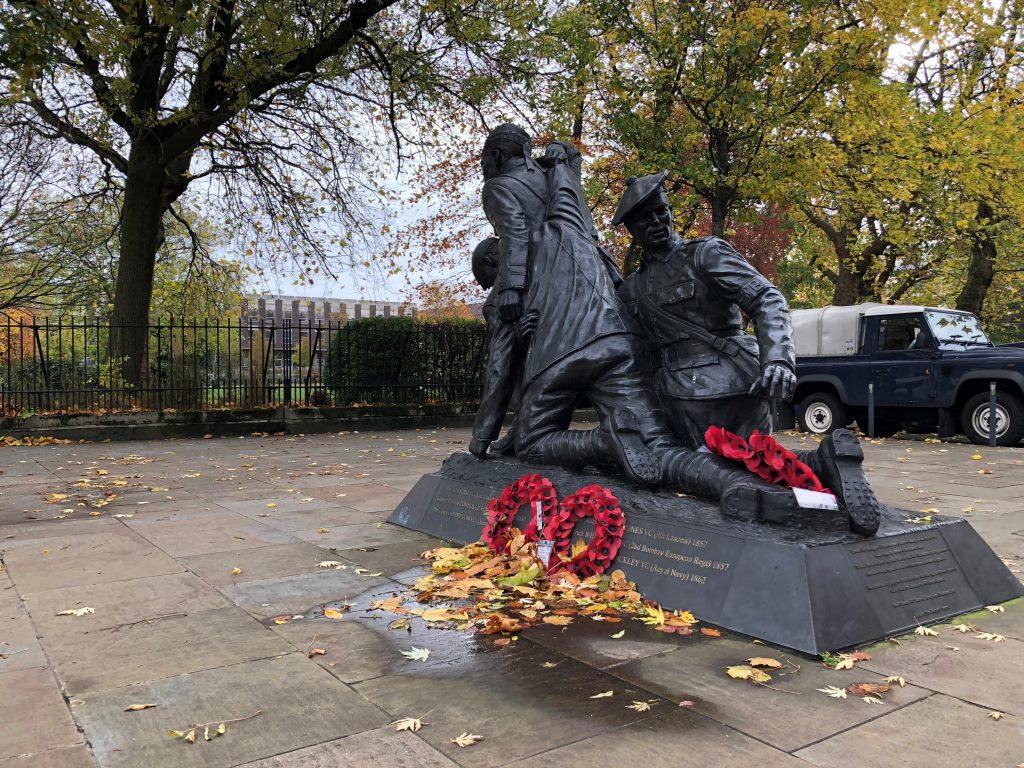 WW1 statue on the University of Liverpool campus