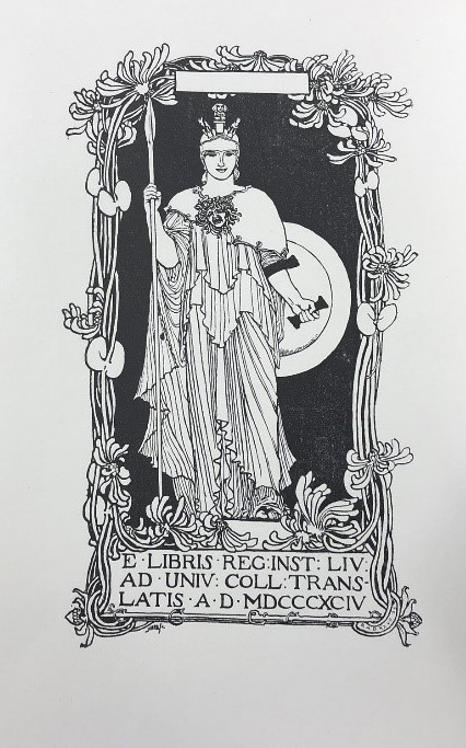 Image of bookplate, designed by Robert Anning Bell