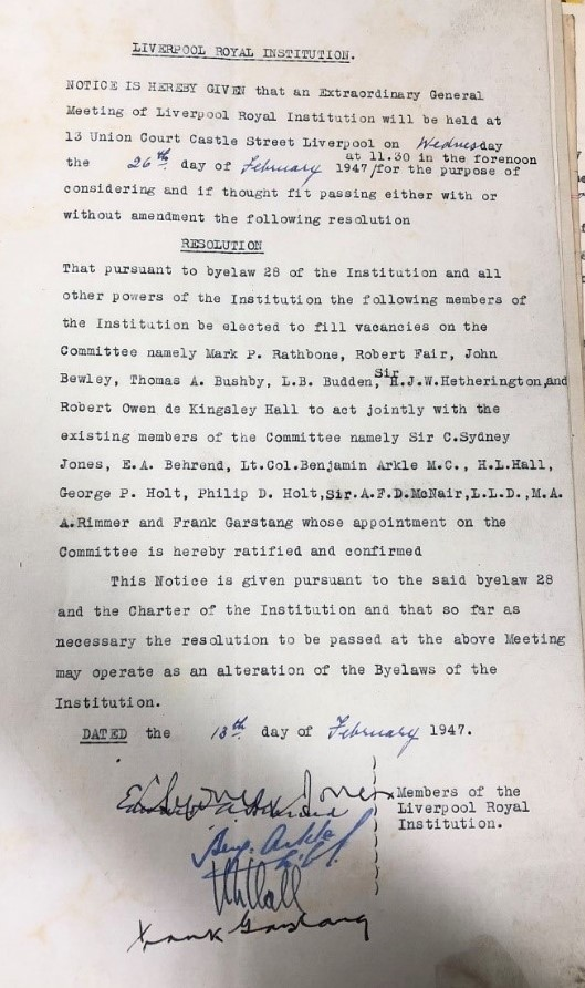 Copy of LRI Resolution dated 13 Feb 1947