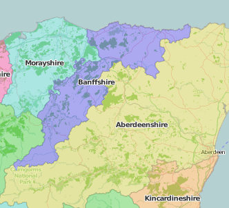 map of Banffshire showing historic county area