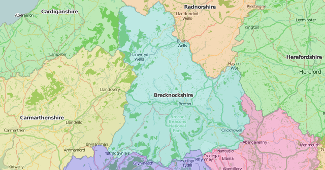 map of Brecknockshire showing historic county area