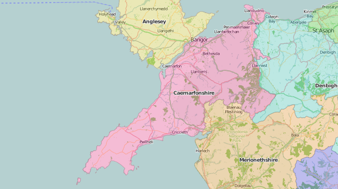 map of Caernarvonshire showing historic county area