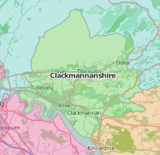 map of Clackmannanshire showing historic county area