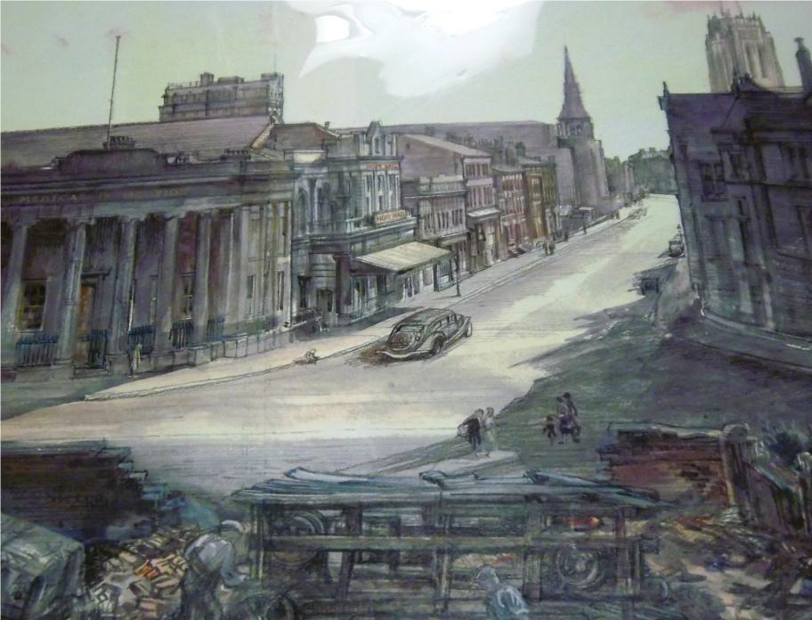 Copy of illustration showing how Hope Street may have looked in 1947.