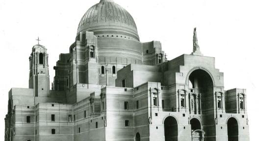 Showing Edwin Lutyens' design for the Metropolitan Cathedral.