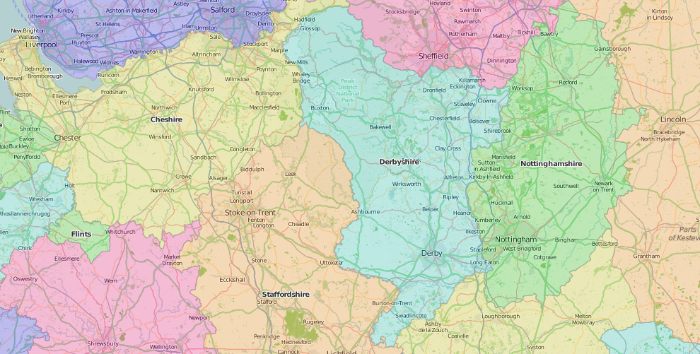 map of Derbyshire showing historic county area