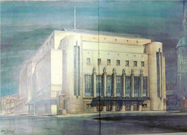 Colour illustration by A. P. Tankard of the Philharmonic Hall as it appeared in 1954