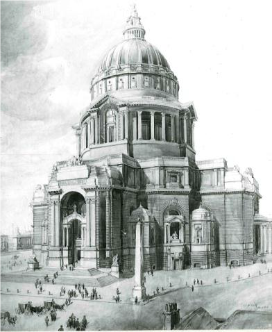 Black and white image showing Charles Reilly's design for Liverpool Anglican Cathedral (West Elevation).