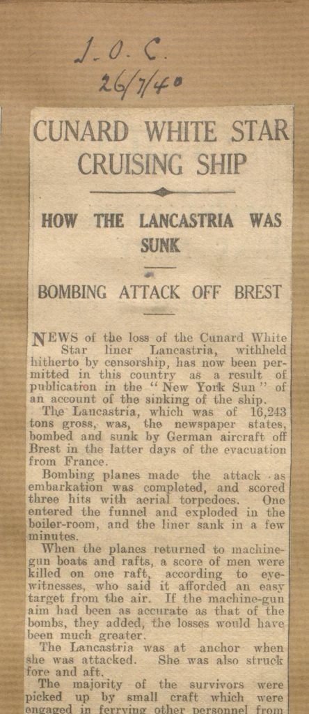 News article concerning the Lancastria sinking