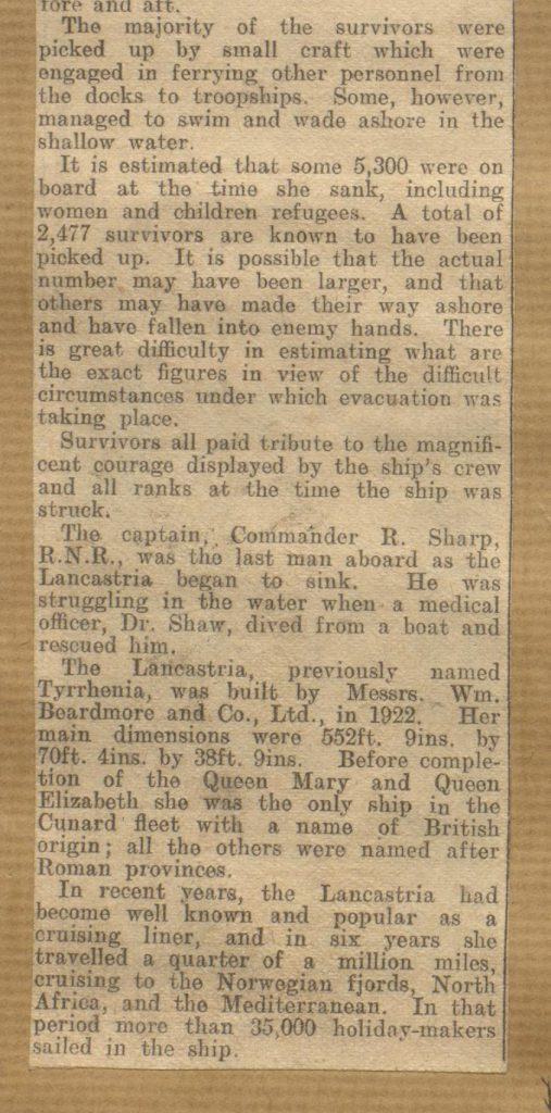 News article concerning the sinking of the Lancastria