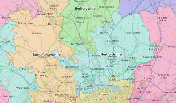map of Hertfordshire showing historic county area