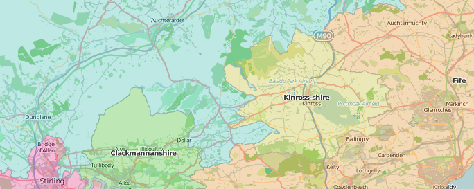 map of Kinross-shire showing historic county