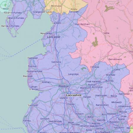 map of Lancashire showing historic boundaries