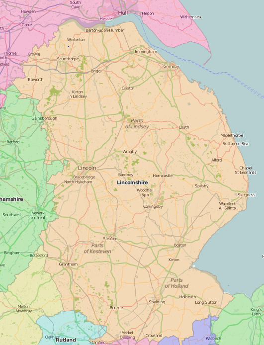 map of Lincolnshire showing historic county area