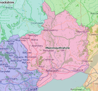 map of Monmouthshire showing historic county area