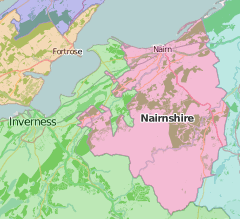 map of Nairnshire showing historic county area