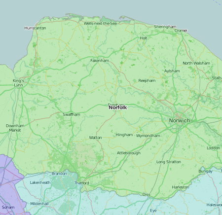map of Norfolk showing historic county area