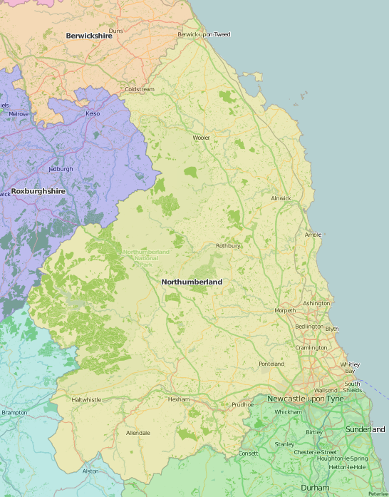 map of Northumberland showing historic county area