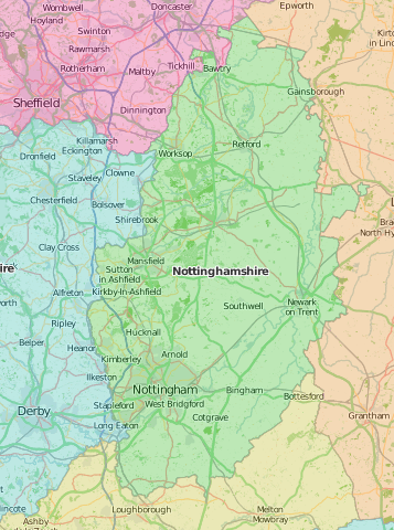 map of Nottinghamshire showing historic county area