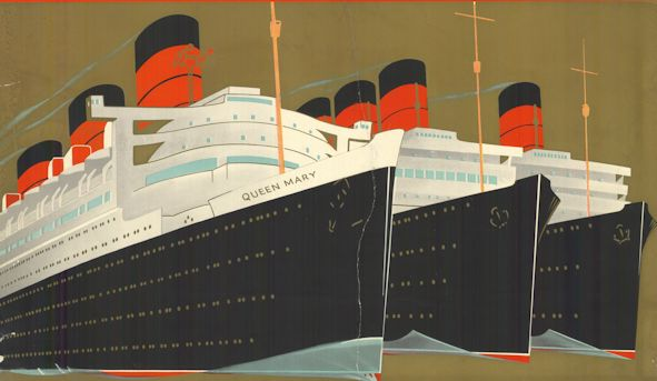 Cunard 1930s travel poster showing RMS Queen Mary