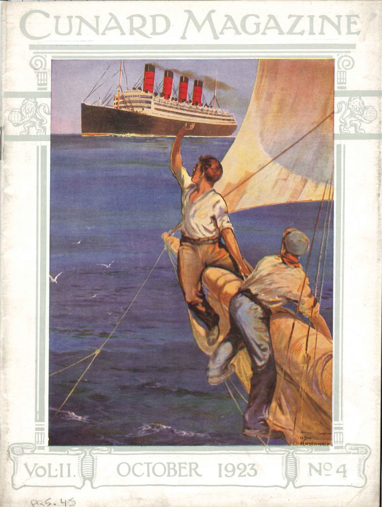Front cover of Cunard staff magazine 1920s