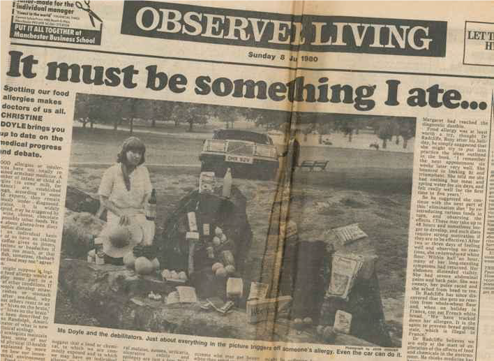 Image of newspaper cutting from Observer Living (8 Jun 1980). Only the title of the article is readable, 'It must be something I ate', as well as a low quality black and white image of Christine Doyle with various food items.