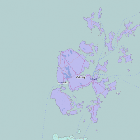 map of Orkney showing historic county area