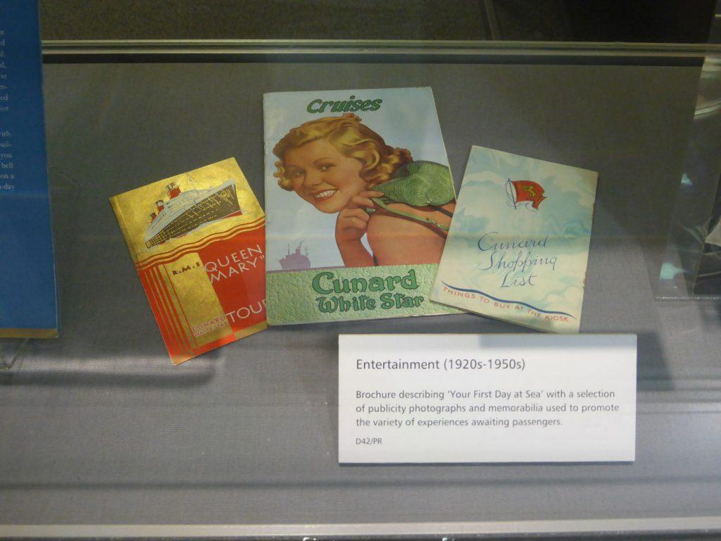 Memorabilia from the Cunard exhibition