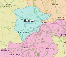 map of Rutland showing historic county area