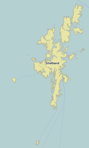 map of Shetland showing historic county area