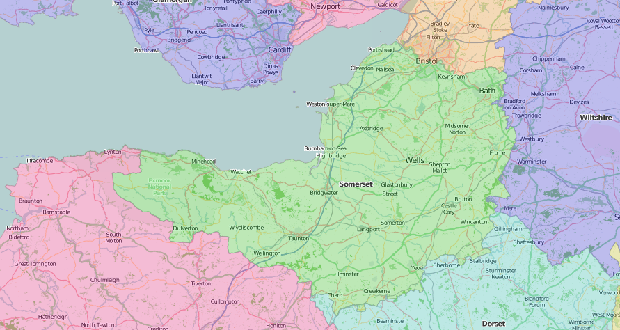 map of Somerset showing historic county area