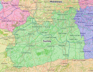 map of Surrey showing historic area