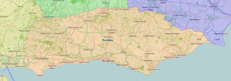 map of Sussex showing historic area