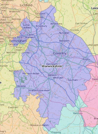 map of Warwickshire showing historic county area