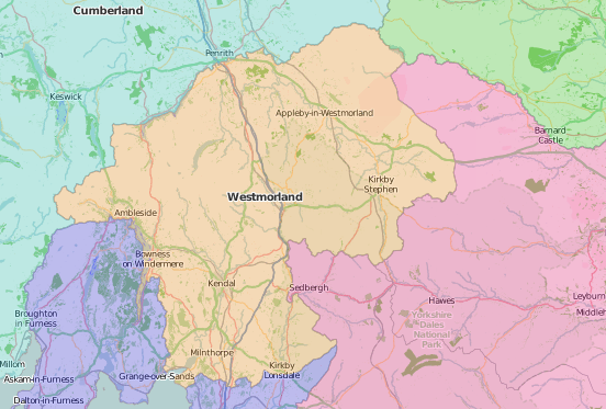 map of Westmorland showing historic county area