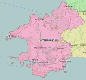 map of Pembrokeshire showing historic county area